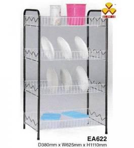 4-Tier Epoxy Steel Dish Plate Rack/Rak Pinggan