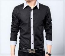 (534) Vintage Black Office Man Long-Sleeved Shirt