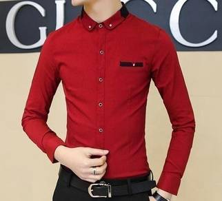 (561) Stylish Collar Red Slimfit Long-Sleeve Shirt