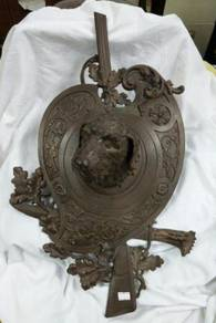 Antique Wall Hanging Dog Face Brass Statue