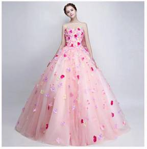 Pink petal flower prom wedding dress gown RB1596
