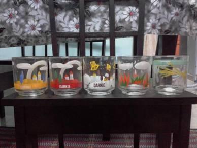 Pcol DARKIE Glass Gelas Cawan Vintage Lama