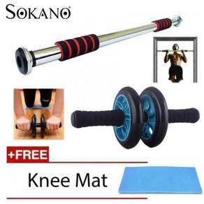 Iron Gym Door Bar + Roller & Knee Pad ::