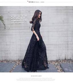 Black long sleeve lace prom wedding dress RBP0233