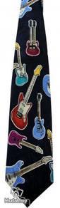 Electric Guitar Music Instrument Cartoon Neck Tie