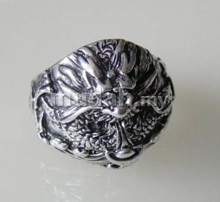 ABRSM-D012 Silver Metal Ring 9.5 Dragon n Yuan Bao
