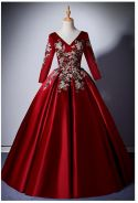 Red long sleeve prom wedding dress gown RB1600