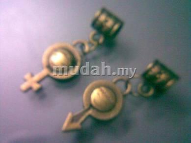 ABPB-B002 Bronze 2pcs Male Female Pendant Necklace