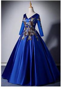 Blue long sleeve prom wedding dress gown RB1599