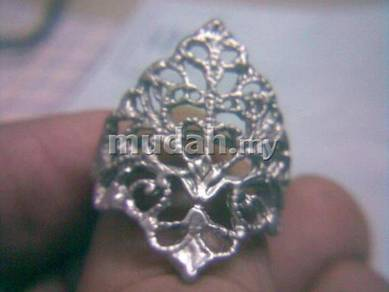 ABRSM-F004 Fashion Flower Silver Metal Ring - All