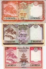Nepal 2012 3 PCS 5 10 20 RUPEES UNC