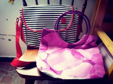 Red Sling Bag and Purple Shoulder Bag