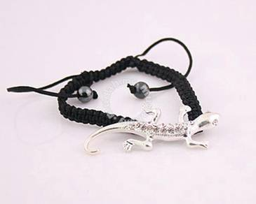 ABBSM-G003 Black KnittingCord GeckoLizard Bracelet