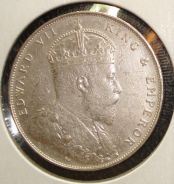 1907 Straits Settlements Silver One Dollar Coin