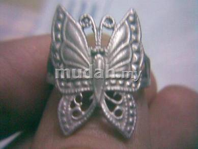 ABRSM-B004 Lively Butterfly Silver Metal Ring Sz 6