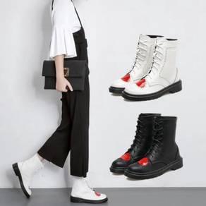 Black white love heart boots shoe RBH0186