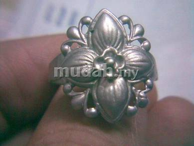 ABRSM-F005 Fashion Flower Silver Metal Ring Sz 9.5