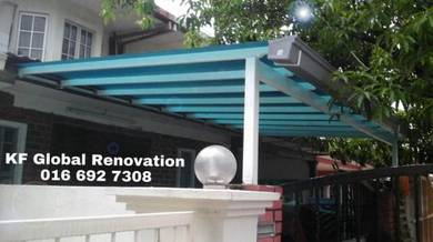 Awning with Pvc Gutter, Pergola, Gate & Grill