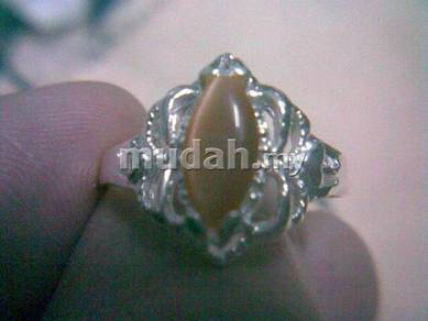 ABRS9-C011 Cat_s Eye CZ Bead Silver Ring - Brown