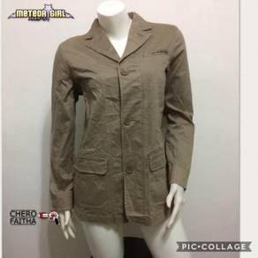 Baju Meteor Girl lady Chino khaki button down blaz