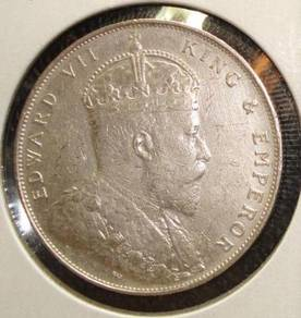 1907 Straits Settlements Silver 1dolli Coin