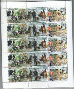 Mint Stamp Sheet Setenant Working Dog 2018
