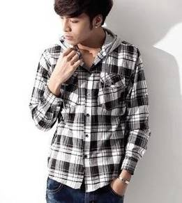 (599) Urban Hoodie Style Check Long-Sleeve Shirt