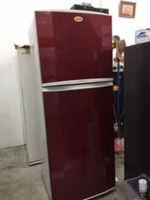 Samsung 2 doors Red Peti Sejuk fridge Ais
