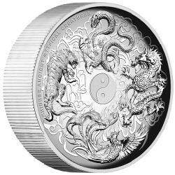 Chinese ancient mythical creatures 2015 5oz silver