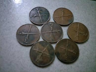 7pieces 1962 Vintage duit Malaya 1 cent lama