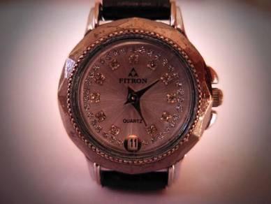 Fitron Quartz Small Round Silver Dial Watch