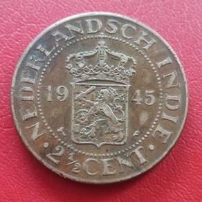 Duit Syiling Nederlandsch Indie 2½ Cent 1945 (E)