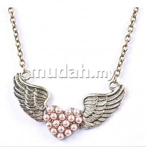 ABPB-B003 Bronze Simitter Pearl Love Wings Necklac