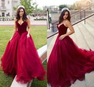 Red wedding prom evening dress gown RBP1216