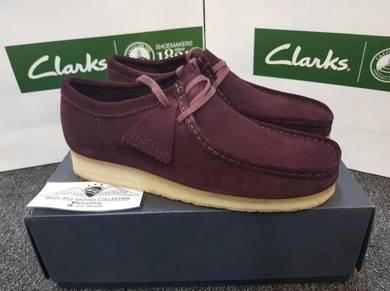 MENS Clarks Original Wallabe Bordeoux Burgundy Red