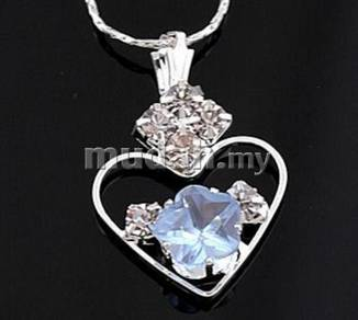 ABPSM-H007 Style Nice Blue Crystal Heart Necklace