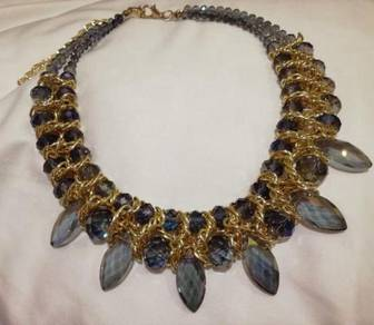 Gold blue statement necklace