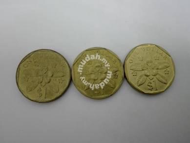 (CN 0108) 1988, 89 & 97 Singapore $1 x 3
