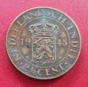 Duit Syiling Nederlandsch Indie 2½ Cent 1945 (D)