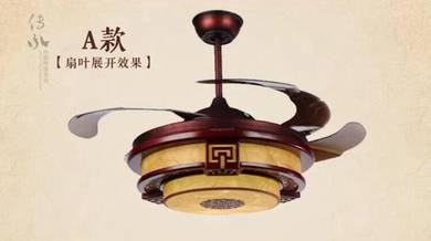 Fan with 3 color led light 42 inch chinese style