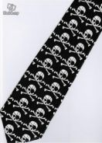 Eyepatch Pirates Jolly Roger Silk Cartoon Neck Tie