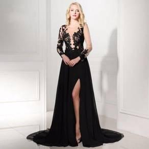Black long sleeve wedding prom dress gown RBP1217