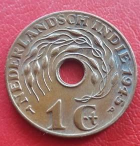Duit Syiling Nederlandsch Indie 1 Cent 1945 (D)