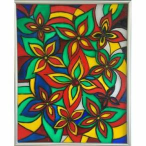Handpainted glass art painting