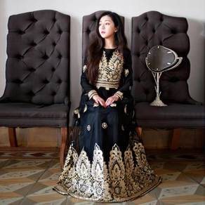 Black long sleeve Muslimah prom dress RBMWD0026