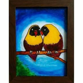 Original handpainted glass art painting. 2 birds