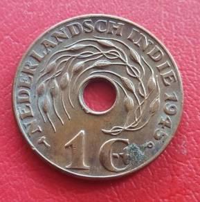Duit Syiling Nederlandsch Indie 1 Cent 1945 (B)