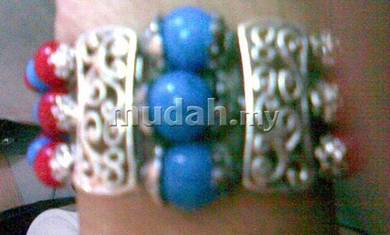 ABBSM-R002 Silver Red Blue Bead 3 Layer Bracelet