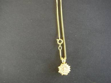 N003 Vintage gold necklace stone pendant