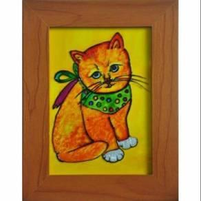 Original handpainted glass art painting - cat